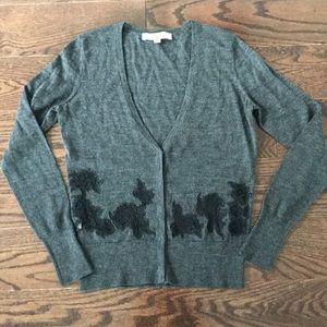 LOFT Gray Cardigan with Black Lace Detail